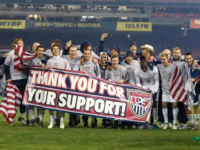 Nice touch. A drained USMNT thanks it supporters...and Tim Howard in cowboy hat!)