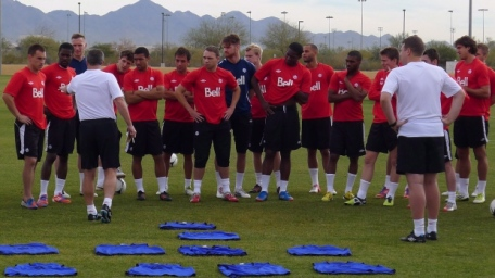 Canada placed the interim tag again on Colin Miller, seen here front left in front of the squad last week.