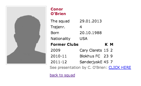 O'Brien's current FC Nordsjælland page is emblematic of his club career....an unknown who continues to advance and win at every level....