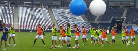 Rolling out the boys and the balloons at the ASG at SKC....
