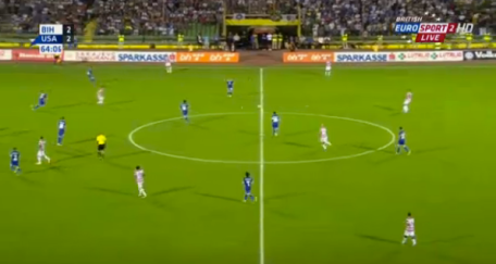 *NOT PICTURED: Fabian Johnson out of picture on the left // The US pushed it's wide midfielders high to create tempo in the second half. Here you see Eddie Johnson, Jozy Altidore and Ale Bedoya--wide right--all challenging the Bosnian backline.