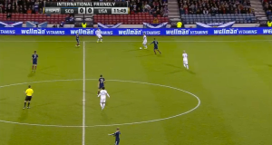 Michael Bradley is pinned a bit in the corner--he next jams a ball into Altidore that results in a turnover. Jones fails to provide support.